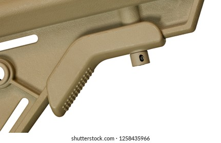 Lever on an AR-15 used to adjust its length isolated on white