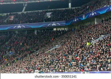 Leverkusen, Germany- December 9, 2015:  Bayer fans celebrating for their team during the match of the Champions League  Bayer 04 Leverkusen vs Barcelona at BayArena stadium