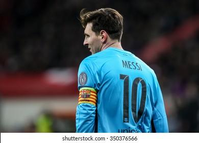 Leverkusen, Germany- December 9, 2015: Lionel Messi during the UEFA Champions League game between Bayer 04 Leverkusen vs Barcelona at BayArena stadium