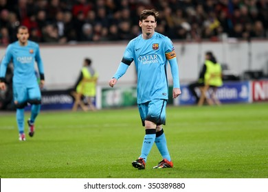 Leverkusen, Germany- December 9, 2015: Lionel Messi during the UEFA Champions League game between Bayer 04 Leverkusen vs Barcelona at BayArena stadium