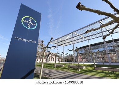 Leverkusen / Germany – March 21, 2019: Headquarters with the Bayer Cross sign of German life science company Bayer AG  on March 21, 2019 in Leverkusen.
