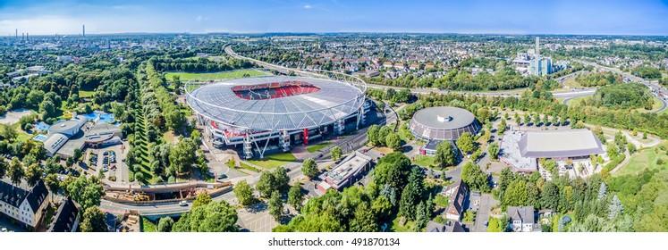 LEVERKUSEN / GERMANY - October 02 2016 : Football stadium in the sun, aerial
