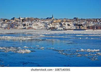Levis City skyline in winter. Levis is located on the south bank of St. Lawrence River, Quebec City, Quebec, Canada.