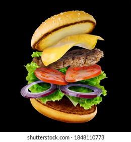 levitated delicious hamburger cheeseburger flying on black background