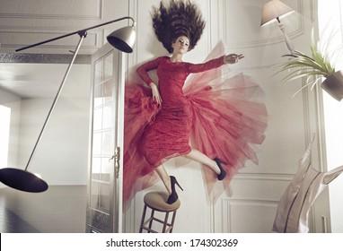 Levitating brunette beauty