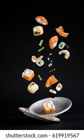Levitating sushi and rolls and plates