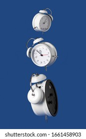 Levitating white alarm clocks on a blue background. time concept