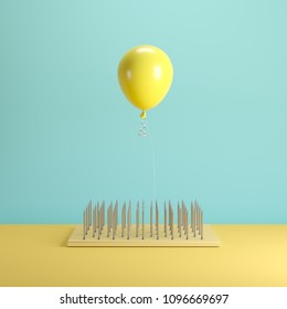 Levitating Yellow Balloon floating on top nail trap on blue pastel background color. minimal idea concept.