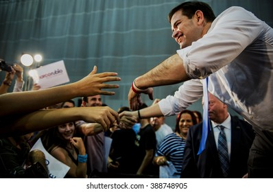 Levittown, Puerto Rico - March 5, 2016: Republican presidential candidate, Marco Rubio, shakes hands with a supporter at a rally in Puerto Rico on the eve of the Republican primary on the island.
