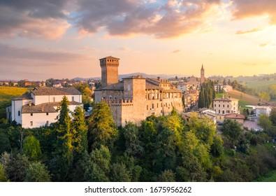 Levizzano castle during sunset, Modena province, Emilia Romagna, Italy