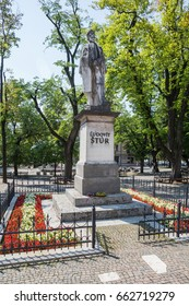 Levoca, Slovakia - AUGUST 11, 2015: Sculpture of Ludovit Stur (1815-1856) on main square park in Levoca - Slovakia.