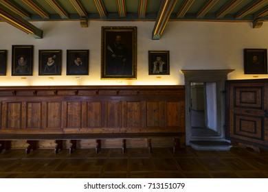 Levoca, Slovakia - August 28, 2017: Interior of historical town hall of the town of Levoca, Slovakia.