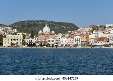 LEVOS, GREECE APRIL 15, 2016: Waterfront at Mytilene town harbour. Mytilene the main town of Lesvos in the North Aegean. Lesvos has been a hotspot for refugees arriving in boats from Turkey.
