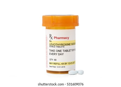 Levothyroxine sodium prescription bottle.  Levothyroxine sodium is a generic, non-trademarked medication name, label was created by photographer.