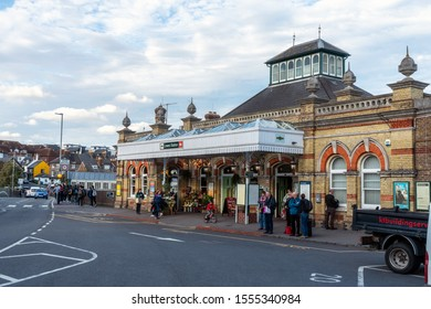 Lewes Brighton, England - October 23, 2019: The front entrance and exit way of Lewes Railway Station, Lewes. Brighton East Sussex, UK.