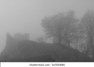 Lewes Castle Silhouetted in the Mist