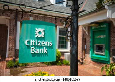 Lewes, Delaware / USA - Aug. 19, 2019:  Citizens Financial Group, Inc. is an American bank headquartered which operates all along the East Coast. A thunderstorm passes one near Rehoboth Beach.