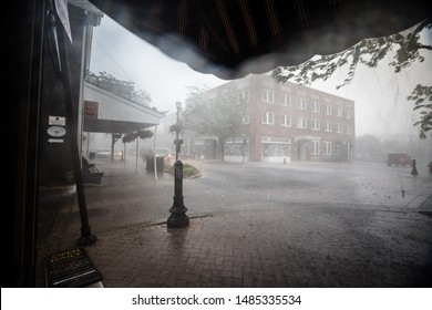 Lewes, Delaware / USA - August 19, 2019: A dangerous thunderstorm passes over the city of Lewes by Rehoboth Beach, bringing flash floods and heavy rain to the region and forcing people to take cover.