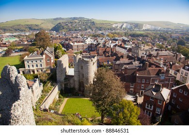 Lewes east sussex  elevated view, england, house exterior  town, townscape Brighton