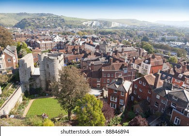 Lewes east sussex  elevated view, england, house exterior  town, town scape Brighton