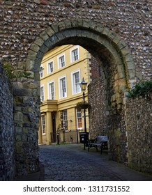 LEWES, EAST SUSSEX, ENGLAND - OCTOBER 21, 2017: The Gatehouse of Lewes Castle East Sussex.