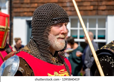 Lewes, East Sussex, UK May 12th 2019: Historical re-enactment societies celebrate the anniversary of TheBattle of Lewes 1264 when King Henry III was defeated by English Barons under Simon de Montfort