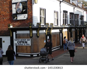 Lewes, East Sussex/England - November 5 2018: Shops boarded up to protect them from the riotous Lewes Guy Fawkes Bonfire Night processions