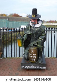 Lewes, East Sussex/England - November 5 2018: Effigy of Guy Fawkes in Lewes town centre saying A Penny For the Guy to collect money towards the Bonfire processions