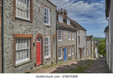 Lewes, England - May 22 2017: Keere Street, Lewes. Popular legend recalls that the Prince of Wales (future George IV) drove a coach and four horses down it.