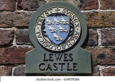 LEWES, UK - MAY 31ST 2017: A plaque at the historic Lewes Castle in Lewes, East Sussex, UK, on 31st May 2017.