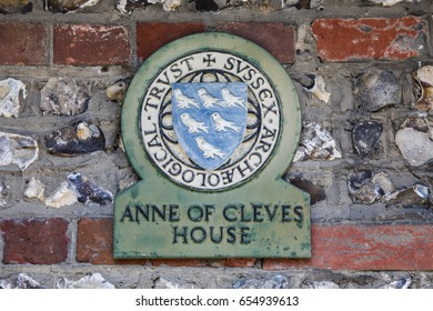 LEWES, UK - MAY 31ST 2017: A plaque at Anne of Cleves House in the historic town of Lewes in East Sussex, UK, on 31st May 2017.