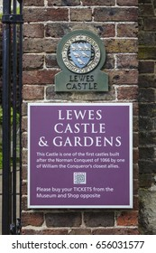 LEWES, UK - MAY 31ST 2017: A plaque and sign at the historic Lewes Castle in East Sussex, UK, on 31st May 2017.