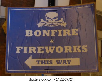 Lewes/East Sussex/England - November 5 2018: Banner at famous Lewes Bonfire Guy Fawkes Night  event advertising a bonfire society Bonfire and Fireworks