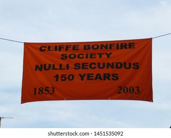 Lewes/East Sussex/England - November 5 2018: Banner at famous Lewes Bonfire Guy Fawkes Night  event advertising Cliffe Bonfire Society procession and bonfire