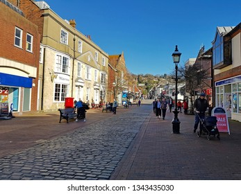 Lewes,East Sussex/UK 02-25-19 A beautiful winter's day with a clear blue sky. A 2019 view of Lewes High Street looking towards Cliffe High Street and the bridge over the river Ouse