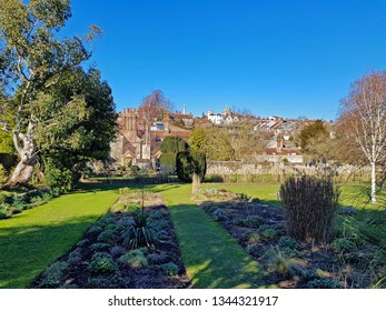 Lewes,East Sussex/UK 02-25-19 A beautiful winter's day with a clear blue sky. A view across Southover Grange Gardens which is a free public park. In the background are Lewes town and castle