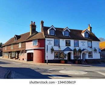 Lewes,East Sussex/UK 02-25-19 A beautiful winter's day with a clear blue sky. The Swann Inn public house on Kingston Road founded in 1790. A Harvey's of Lewes pub. The road to the left is Juggs road