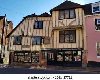Lewes,East Sussex/UK 02-25-19 Pictured on a beautiful winter's day with a clear blue sky. The stunning 15th Century Bookshop on Lewes High Street. A beautiful historic,beamed, Tudor building