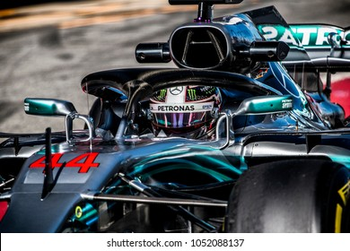 Lewis Hamilton (UK) in the Mercedes W09 F1 2018 car during the F1 winter testing in March at Circuit de Barcelona-Catalunya