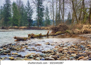 The Lewis river as it flows by the outskirts of Woodland Washington