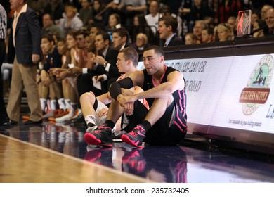 LEWISBURG, PA. - NOVEMBER 28: Penn State's Ross Travis and BUcknell's J.C.Show wait to check into the game, PSU against Bucknell on November 28, 2014 Sojka Pavilion in Lewisburg, PA.