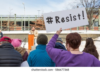 LEWISTON, MAINE - FEBRUARY 22, 2017: Sen. Collins' constituents protest that the senator has no plans to hold town hall meetings. Attendees were encouraged to speak about their specific concerns.