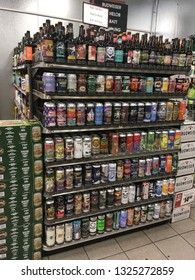 Lewiston, New York - Feb 6, 2019: A retail display of various craft beers in a grocery store.