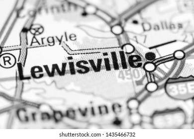 Lewisville. Texas. USA on a map