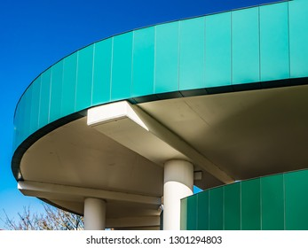 LEXICON CARPARK BRACKNELL, BERKSHIRE, ENGLAND - NOVEMBER 13 2018: Modern carpark building with different textures with bright blue sky. Bracknell Lexicon