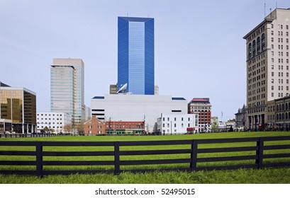 Lexington, Kentucky behind the fence.