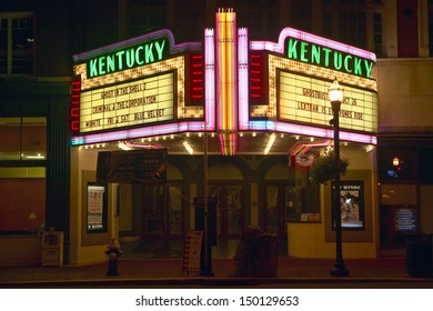 LEXINGTON, KENTUCKY - CIRCA 1990'S: Neon marquee sign for movie theater saying in Lexington, KY