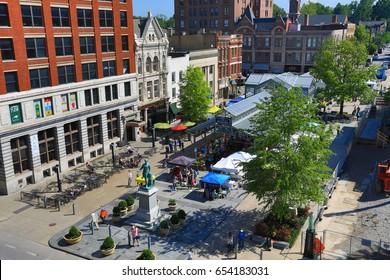 LEXINGTON, KENTUCKY - MAY 13, 2017:  Lexington hosts a farmer's market downtown every Saturday year round.