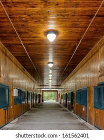 LEXINGTON, KENTUCKY - OCTOBER 29: An empty mounted police horse barn on October 29, 2013 in Lexington, Kentucky