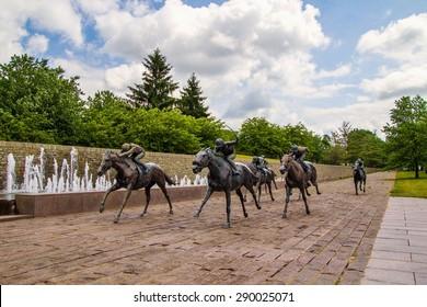 Lexington, Kentucky. USA. June 1, 2015. Beautiful Thoroughbred Park in downtown Lexington, Kentucky features the sculptures of thoroughbred horses by renowned artist Gweyn Reardon.